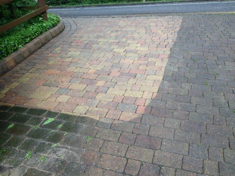 Pressure Washing block paved driveway in Hertfordshire